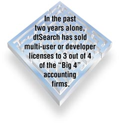 "dtSearch Corp. has sold multi-user network or developer licenses to 3 out of 4 of the ""Big 4"" accounting firms."