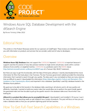 "CodeProject article: ""Windows Azure SQL Database Development with the dtSearch Engine"""