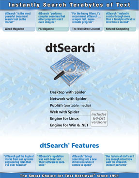 dtSearch Product Line Features - Indexing and Searching Overview